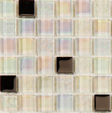 Load image into Gallery viewer, Sample of White Iridescent Textured and Smooth Glass Mosaic Tiles Sheet (MT0143)