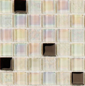 Sample of White Iridescent Textured and Smooth Glass Mosaic Tiles Sheet (MT0143)