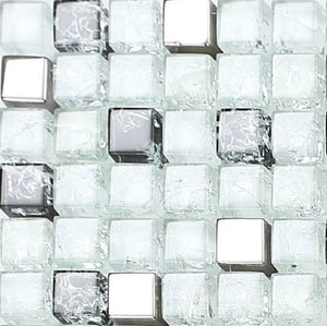 Black & White Crackled With Silver Mirror Glass Mosaic Tiles (MT0078)