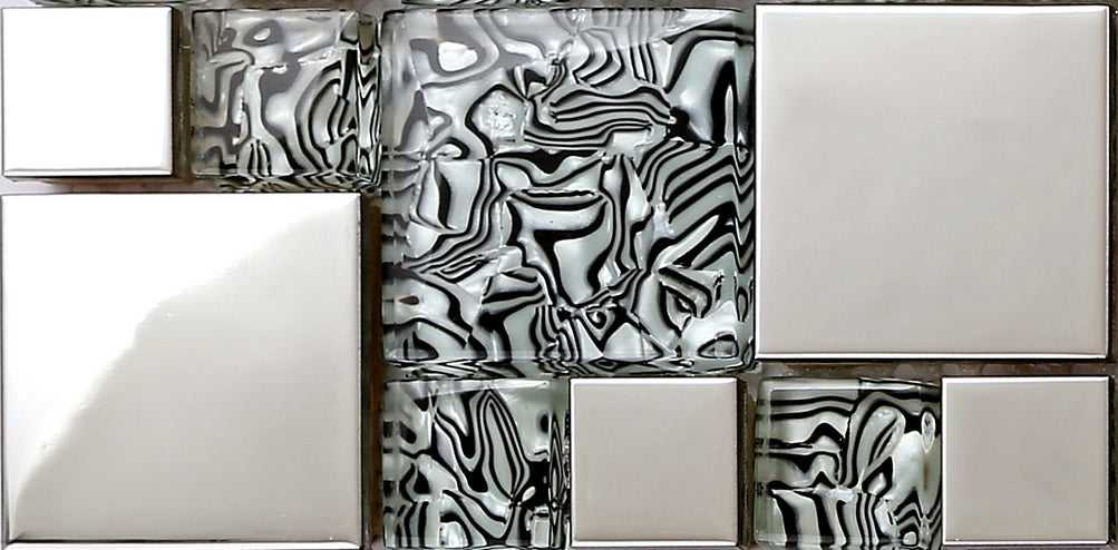 Sample of Black & White Patterned Glass & Polished Stainless Steel Mosaic Tiles Sheet (MT0132)