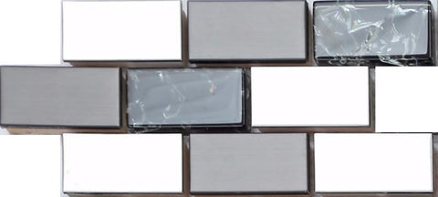 Sample of Silver & Black Stainless Steel & Black Crackle Glass Mosaic Tiles Sheet (MT0137)