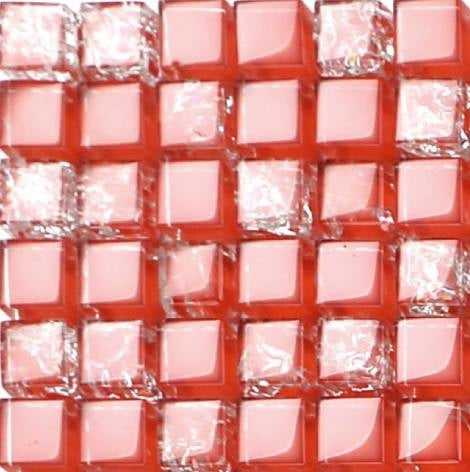 Sample of Red Crackled and Plain Glass Mosaic Tiles Sheet (MT0084)