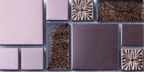 Sample of Gold Foil Glass & Brushed Copper Effect Stainless Steel Mosaic Tiles (MT0165)