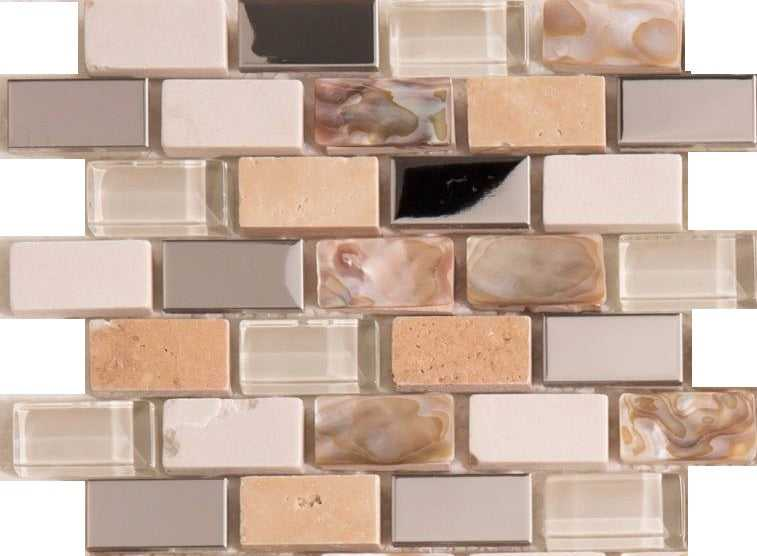 Sample of Polished Steel, Stone & Glass Mosaic Wall Tile Sheet (MT0145)