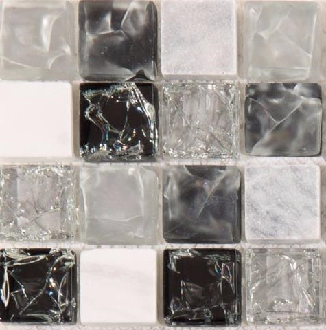 Sample of Black & Grey Crackled Glass and Stone Bathroom Kitchen Mosaic Tile (MT0152)