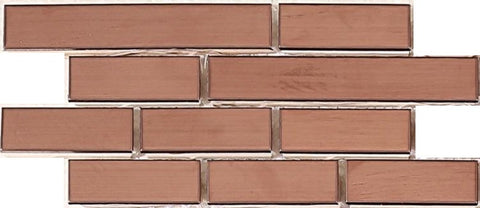 Sample of Copper Effect Steel Brick Shape Mosaic Wall Tiles (MT0170)