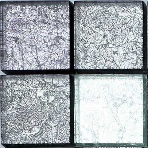 Sample of Grey Pattern Foil Glass Mosaic Tiles Sheet (MT0092)