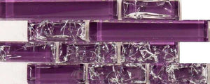 Sample of Purple Crackle and Plain Glass Mosaic Wall Tile Sheet (MT0168)