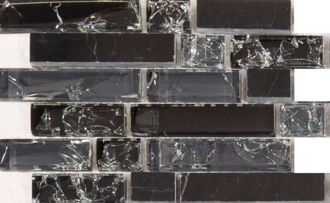 Sample of Black and Grey Glass & Black Stone Brick Shape Mosaic Tiles Sheet (MT0155)