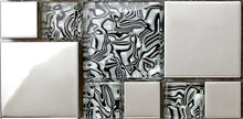 Load image into Gallery viewer, Black & White Patterned Glass & Polished Stainless Steel Mosaic Tiles (MT0132)