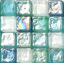 Load image into Gallery viewer, Sample of Green Blue & White Hammered Swirl Glass Mosaic Tiles Sheet (MT0052)