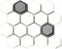 Load image into Gallery viewer, Sample of Black & White Hexagonal Gloss Ceramic Mosaic Tiles Sheet (MT0090)