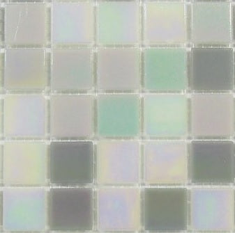 Sample of Grey & White Mix in Iridecsent Glass Mosaic Tiles Sheet (MT0167)