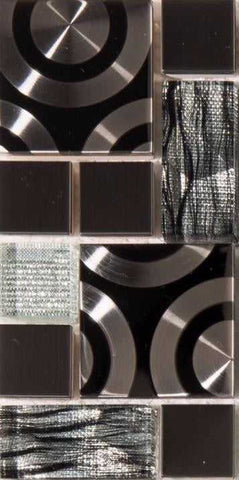 Sample of Black & Silver Glass with Steel Bathroom Kitchen Mosaic Tile (MT0175)