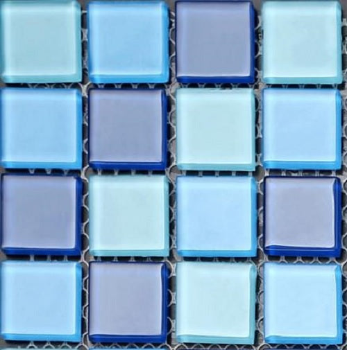 Sample of Blue & Aqua Glass Mosaic Tiles Sheet (MT0163)