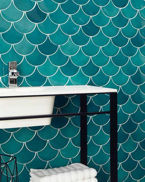 Emerald Green Scale Art Deco Ceramic Wall Tiles | Grand Taps