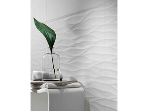 White Gloss Wave Wall Tiles | White Modern Bathroom Tiles | Grand Taps