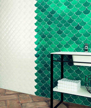 Load image into Gallery viewer, White Scale Art Deco Ceramic Wall Tiles | Fish Scale Tiles | Grand Taps