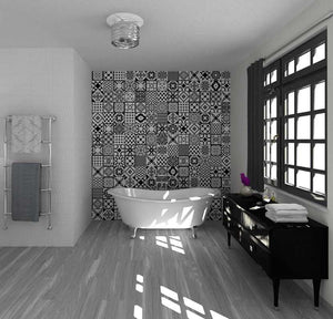 Black White Italian Vintage Victorian Floor Wall Tiles | Grand Taps