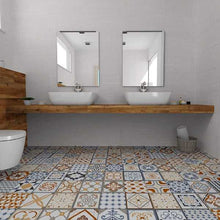 Load image into Gallery viewer, Mediterranean Spanish Orange Blue Pattern Floor Tiles | Grand Taps