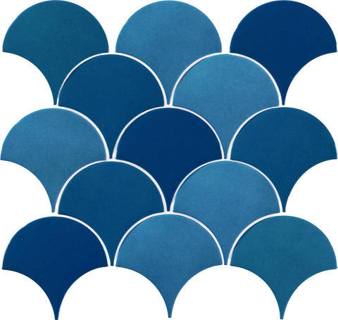 Peacock Blue Scale Art Deco Ceramic Wall Tiles | Grand Taps