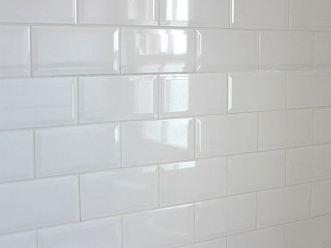 White Gloss Beveled Subway Tile