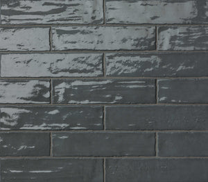 Dark Grey Gloss Brick Wall Tiles | Dark Grey Metro Tiles | Grand Taps