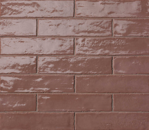 Dark Red Gloss Brick Wall Tiles | Red Kitchen Splashback | Grand Taps