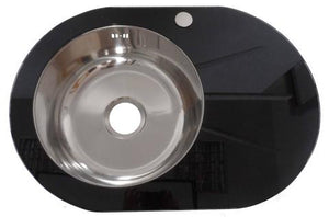 700 x 485mm Inset Black Glass & Stainless Steel Sink (GTS700)