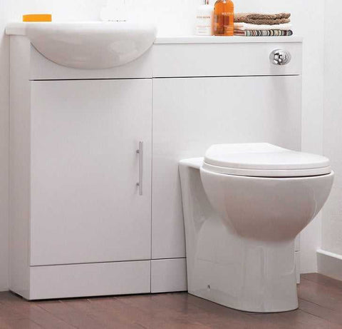 White Downstairs Toilet Vanity Unit & Sink Set | Grand Taps