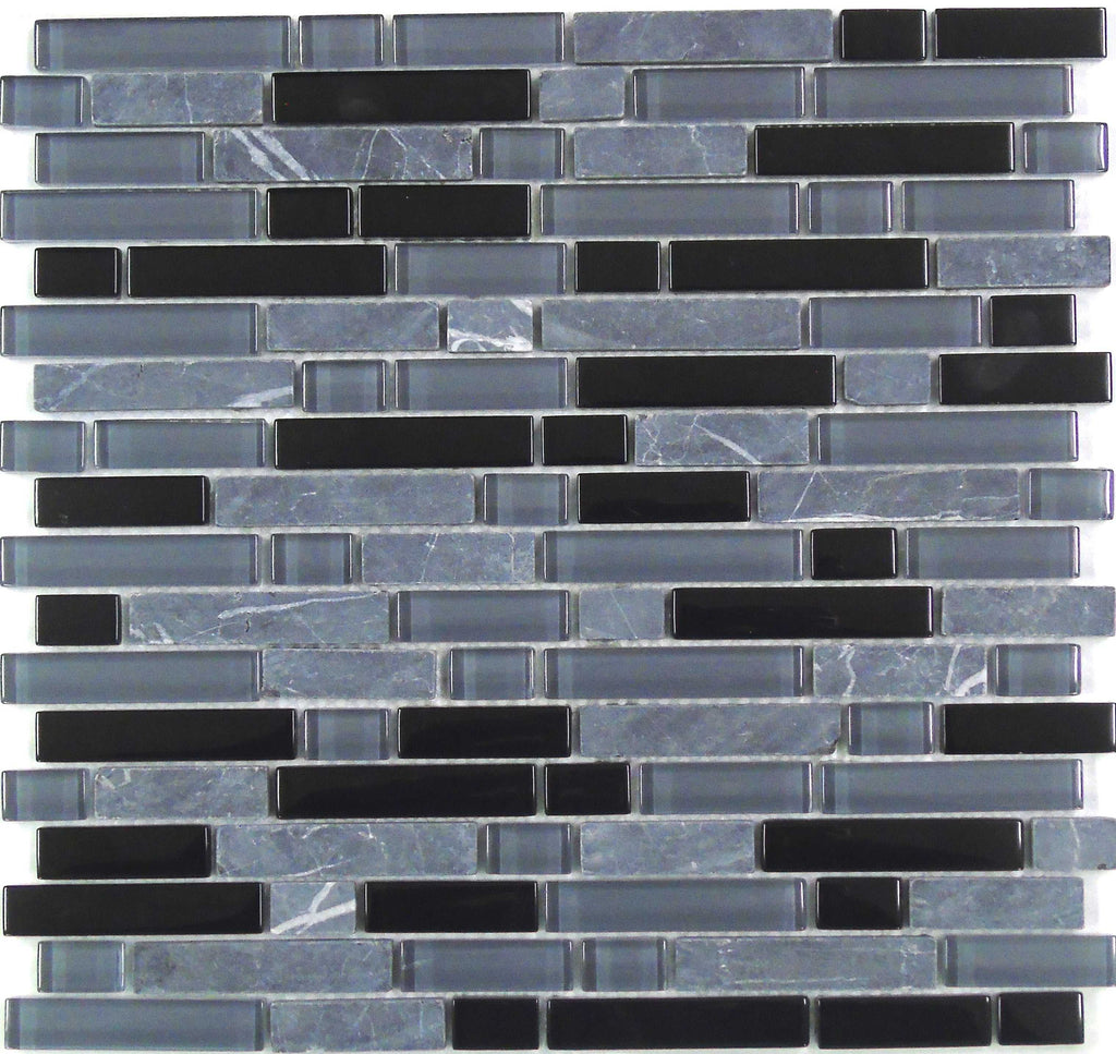 Blue Grey Amp Black Glass Amp Stone Brick Border Mosaic Tiles