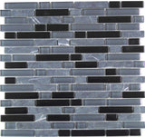 Grey & Black Glass & Stone Brick Shape Mosaic Tiles Sheet (MT0019)
