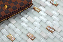 Load image into Gallery viewer, Mother of Pearl, Stone & White Glass Mosaic Wall Tiles (MT0148)