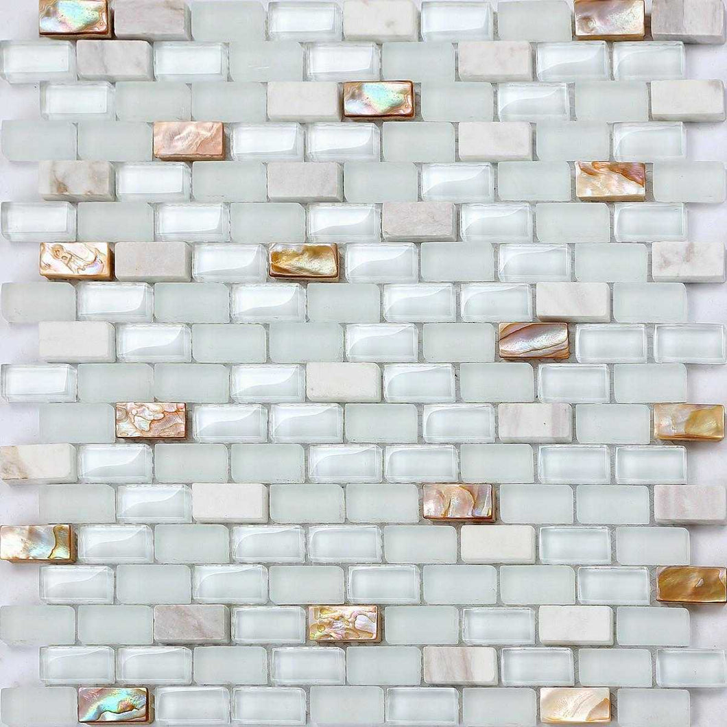 Mother of Pearl, Stone & White Glass Mosaic Wall Tiles (MT0148)