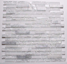 Load image into Gallery viewer, Sample of Clear & Frosted Glass & White Stone Brick Shape Mosaic Tile Sheet (MT0153)