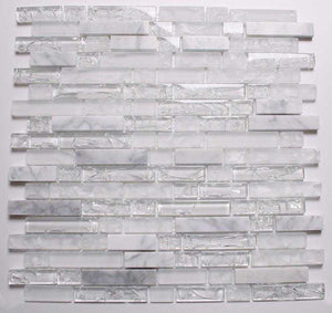 Sample of Clear & Frosted Glass & White Stone Brick Shape Mosaic Tile Sheet (MT0153)