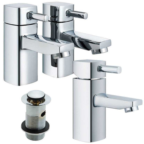 Modern Square Bath & Basin Tap Set (Ice 31)