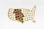 Wooden Beer Caps Map of USA - Farertop