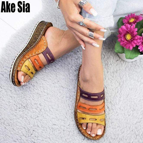 Chic Summer stitching Open Peep Toe Sandals