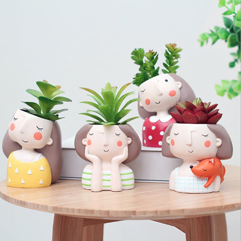 Cute Girl Succulent Plants Flowerpot