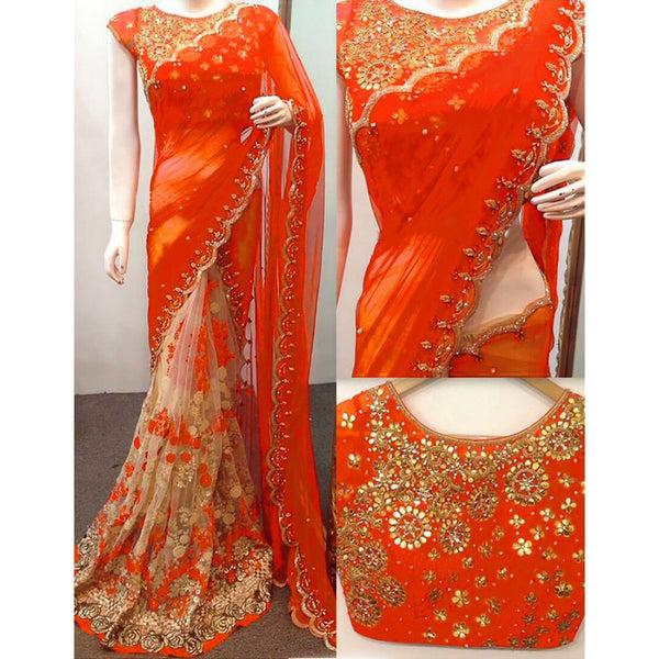 Net Orange & Beige Embroidered Half & Half Saree - ANX199C
