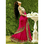 Georgette Pink Embroidered Saree - REWAN12