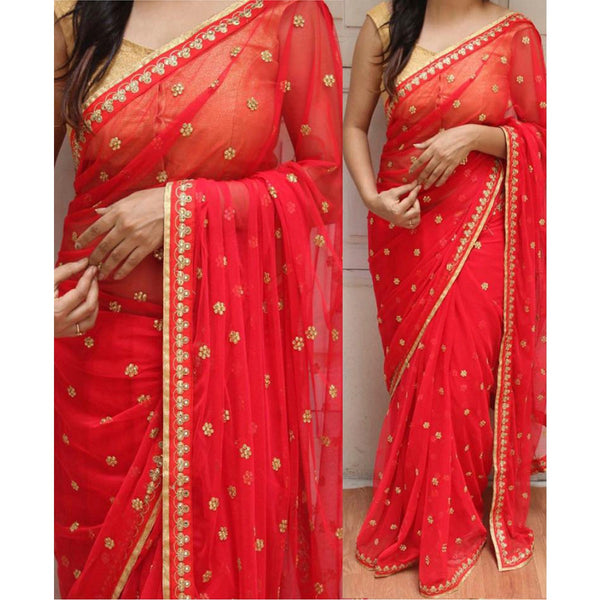 Georgette Red Embroidered Saree - NX256