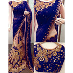 Georgette Embroidered Blue & Cream Half & Half Saree