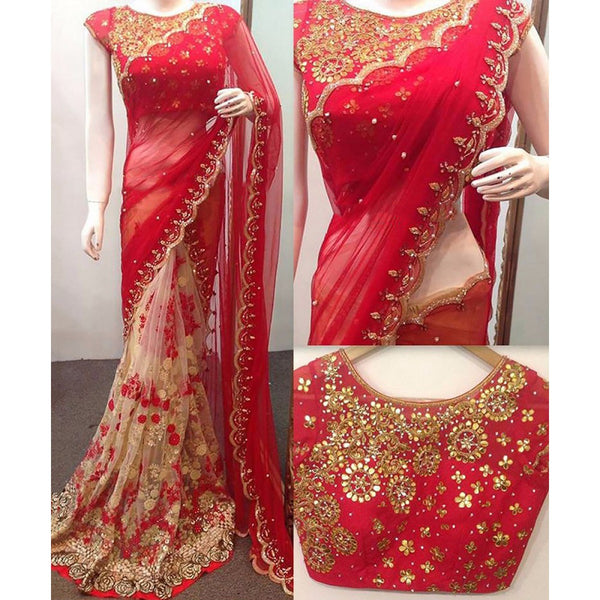 Georgette Machine Work Red & Beige Half & Half Saree