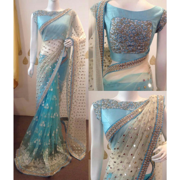 Net Blue & Off-White Embroidered Saree