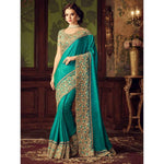 Poly Silk Green Embroidered Saree