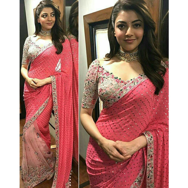 Kajal Aggarwal Georgette Pink Embroidered Bollywood Designer Saree - SN558