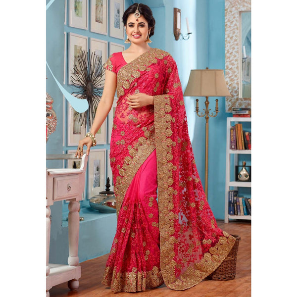 Net Machine Work Pink Saree - TCK01