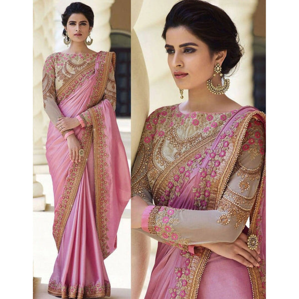 Art Silk Pink Embroidered Saree
